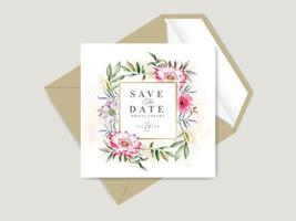 beau et élégant modèle de carte d'invitation de mariage dessiné main floral vecteur