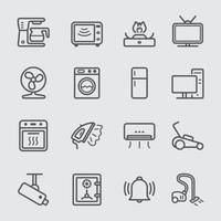 jeu d'icônes de ligne appareil domestique vecteur