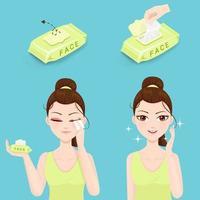 lingettes humides pour le lavage du visage vecteur