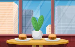 déjeuner au restaurant avec illustration de vue sur la ville vecteur