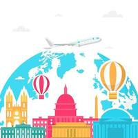 skyline de washington dc sur globe, journée mondiale du tourisme vecteur