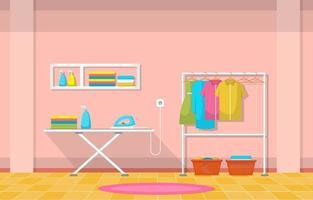 laverie avec porte-vêtements et planche à repasser vecteur
