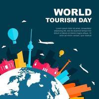 Skyline de Berlin Allemagne sur globe, journée mondiale du tourisme vecteur