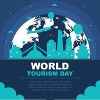 Skyline de la ville de Katmandou au Népal sur globe, journée mondiale du tourisme vecteur