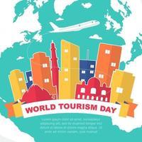 new delhi india skyline on globe, journée mondiale du tourisme vecteur