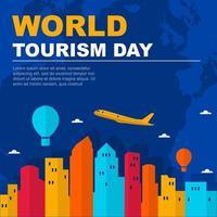 Tampa Florida skyline sur globe, journée mondiale du tourisme vecteur