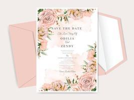 belle carte d'invitation de mariage dessiné main floral vecteur