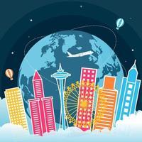 Skyline de Seattle Washington sur globe, journée mondiale du tourisme vecteur