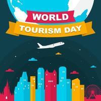 Horizon d'Orlando en Floride sur globe, journée mondiale du tourisme vecteur