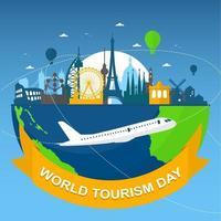 skyline europe sur globe, journée mondiale du tourisme vecteur