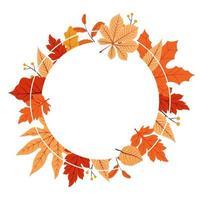 feuilles d'automne rouges et jaunes dans un bouquet de cadre circulaire vecteur