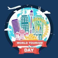 skyline australie sur globe, journée mondiale du tourisme vecteur