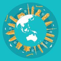 toits de villes asiatiques sur globe, journée mondiale du tourisme vecteur