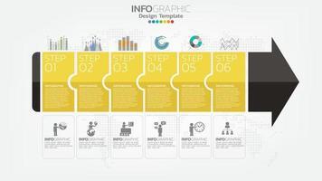infographie élément de couleur jaune 6 étape avec flèche, diagramme graphique, concept de marketing en ligne entreprise. vecteur