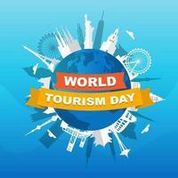 toits de villes européennes sur globe, journée mondiale du tourisme vecteur