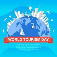 Skyline de san francisco californie sur globe, journée mondiale du tourisme