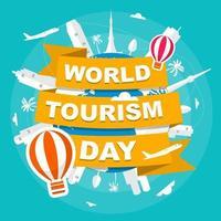 tokyo japon skyline on globe, journée mondiale du tourisme vecteur