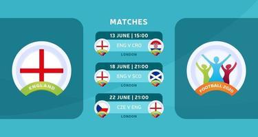 matchs de football de carte de l'Angleterre vecteur