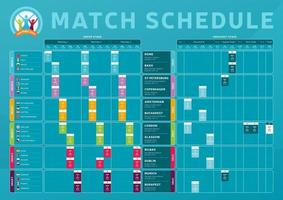 calendrier des matchs de football 2020 vecteur