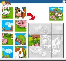jeu de puzzle avec des personnages drôles d'animaux de la ferme vecteur