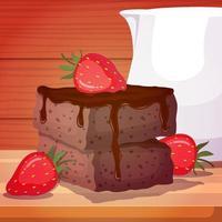 brownies aux fraises et pot de lait vecteur