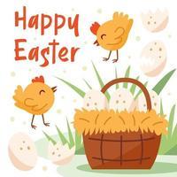 joyeuses pâques illustration, bannière, conception de carte de voeux. petit poulet, oiseau, animal domestique, panier avec des œufs. vecteur