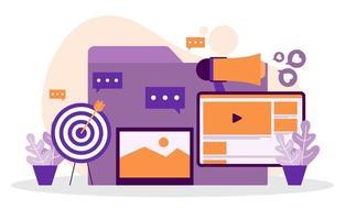 graphiques de marketing numérique et analyse sur ordinateur vecteur