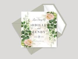 belles cartes d'invitation de mariage dessinés à la main floral vecteur