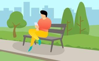 homme assis sur un banc vecteur