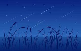 nuit étoilée avec lac et herbe vecteur