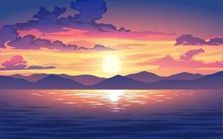 coucher de soleil ou lever de soleil de vecteur dans l'océan avec des nuages