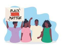 les vies noires comptent bannière avec un groupe de personnes, arrêtez le concept de racisme vecteur