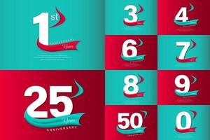 définir des nombres blancs de célébration d'anniversaire avec des bannières vecteur