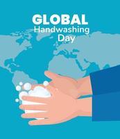 bannière de la journée mondiale du lavage des mains avec mousse de savon vecteur