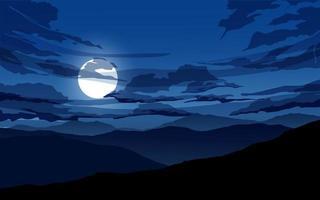 lune et nuages la nuit vecteur