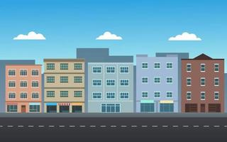 bâtiments de la ville avec rue vecteur