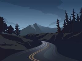 paysage de nuit de vecteur avec autoroute vide et forêt