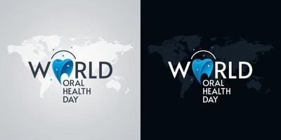 conceptions de cartes de voeux de la journée mondiale de la santé bucco-dentaire vecteur