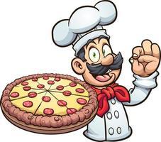 chef de pizza de dessin animé vecteur