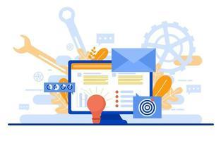landing page avec la création d'un projet de page web moderne vecteur