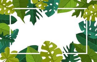 modèle de fond tropical avec bordure remplie de grandes plantes et feuilles