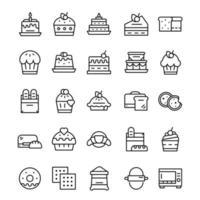 ensemble d'icônes de boulangerie avec style d'art en ligne.
