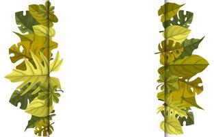 modèle de fond tropical avec bordure remplie de grandes plantes et feuilles vecteur