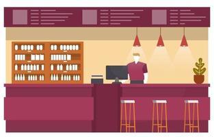 Aire de restauration ou intérieur de la cafétéria avec une caissière au comptoir