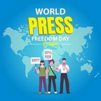 fond bleu de la journée de la liberté de la presse mondiale vecteur