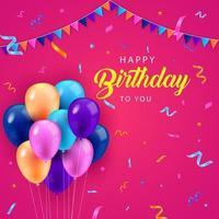 joyeux anniversaire ballon fond design vecteur