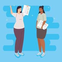 femmes avec des bulletins de vote vecteur