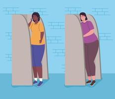 bannière du jour des élections avec des femmes à l'isoloir vecteur