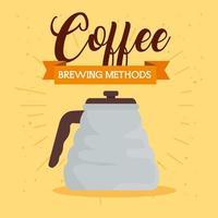 Méthode de préparation du café avec pot sur fond jaune vecteur