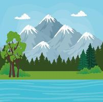 paysage avec montagnes, pins et conception de vecteur de rivière